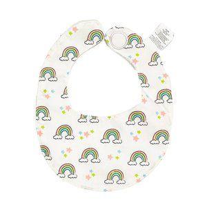 White Rainbow Print Terry Cloth Bib